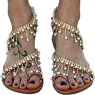 ACHICOO Women Beaded Fashion Large Size Flat Sandals