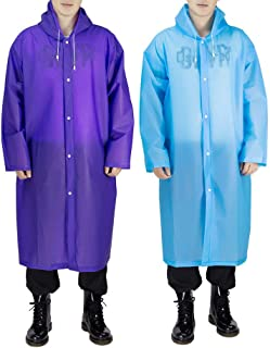 Opret Portable EVA Raincoats for Adults, Reusable Rain Ponchos with Hoods and Sleeves Lightweight Raincoats, 2 Pack