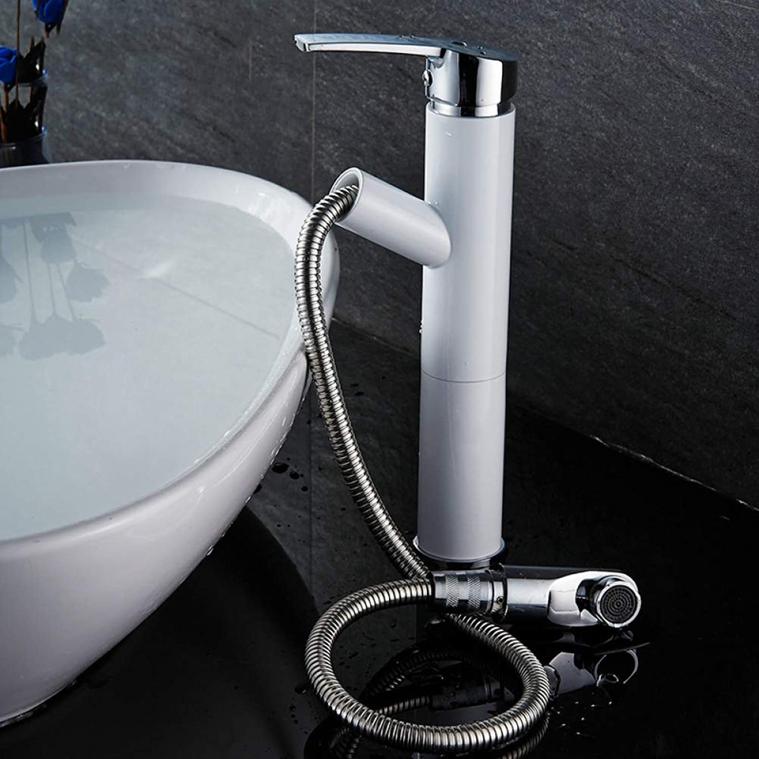 LPW faucet all copper white plus plating high basin faucet hot and cold wash basin faucet