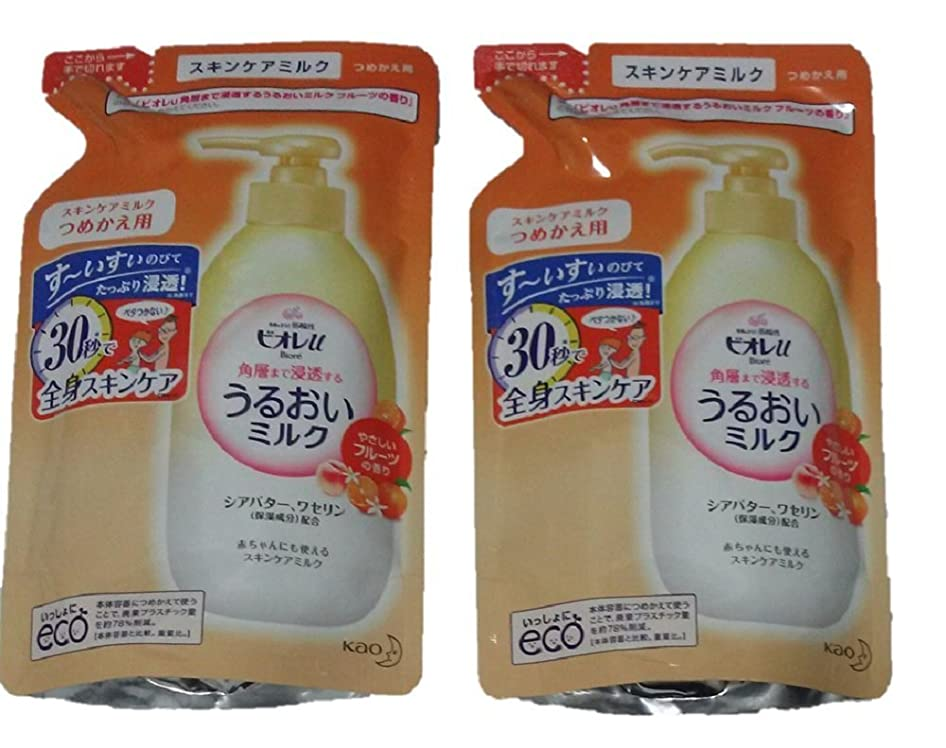 奇跡トライアスリート鬼ごっこ【2袋セット】 ビオレU うるおいミルク フルーツの香り つめかえ用