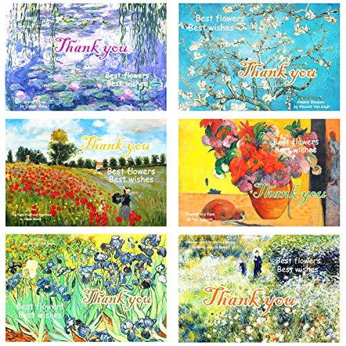 100 Thank You Cards with Envelopes w/10 Top Floral Paintings Design – 4 x 6 inches -$8.25(82% Off)