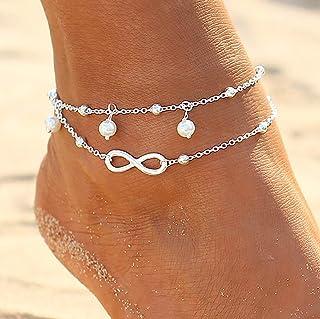 Zoestar - Tobillera doble, de plata, con perlas, estilo bohemio, pulsera para el tobillo, cadena con cuentas, para pie, jo...