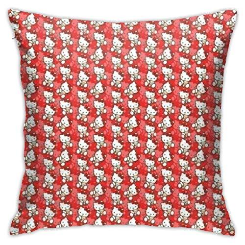 LUCKY Home Hello Kitty - Fundas de almohada decorativas de algodón para salón, sofá, cama, fundas de almohada suaves, 45 x 45 cm