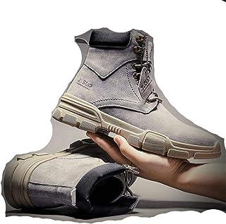 TEYUN Chaussures Hommes Désert Bottes Haute en Coton Chaussures Tooling Bottes de Neige (Color : Grey with Velvet, Size : 44)