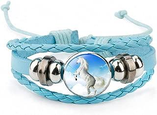 Womens Horses Photo Handmade Glass Cabochon Braided Leather Charm Bracelets Bead Weave Punk Rock Male Bangle Gift