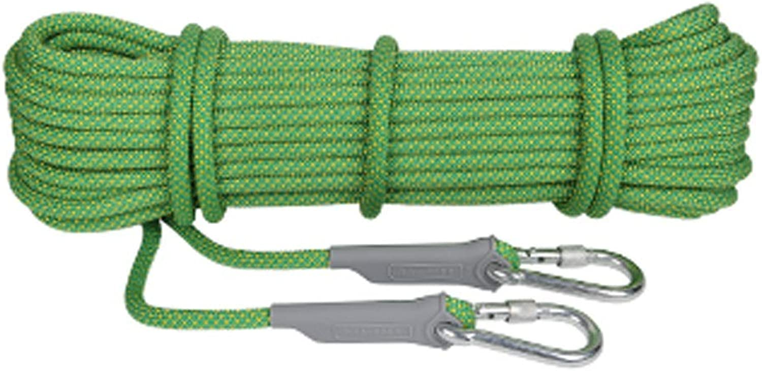 Climbing Rope, 10, 20, 30, 40, 50, 100 Meters, 12mm Outdoor Power Safety Rope Mountaineering Rock Climbing Rappelling Cord (color   Green, Size   100m)