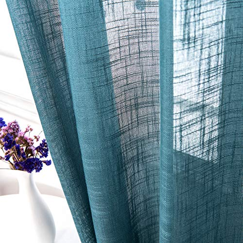 AmHoo 2 Panels Linen Sheer Curtains Premium Heavy Semi Draperies with Grommet Top Drapes Voile Panels Window Treatment for Living Bedroom Room Teal Blue 52 x 63 Inch