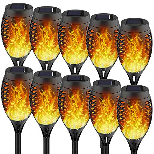 Staaricc 10Pack-12LED Solar Lights Outdoor, Solar Tiki Torches with Flickering Flame for Halloween&Christmas, Waterproof Festive Decoration&Romantic Landscape Lights for Garden Pathway-Auto On/Off