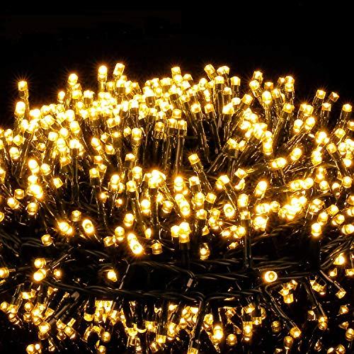 Avoalre Luces Navidad Exterior 25M 1000 LED, Guirnaldas Luces Cadena de Luz 8 Modos Impermeables Guirnalda Decoracion para Exterior, Interior, Fiesta, Boda, Jardín, Casa, Cumpleaños, Blanco Cálido ⭐