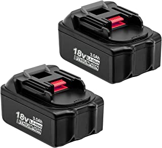 2Pack 3000mAh BL1830 18V Battery for Makita Lithium ion Replacement Battery BL1815N BL1820 BL1830 BL1840 BL1845 BL1850 BL1850B-2 LXT-400 18-Volt Cordless Power Tools Batteries