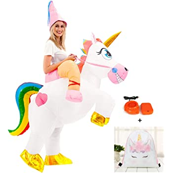 Adult Inflatable Unicorn Costume Fancy Dress Hen Stag Blow Up.One size fits most