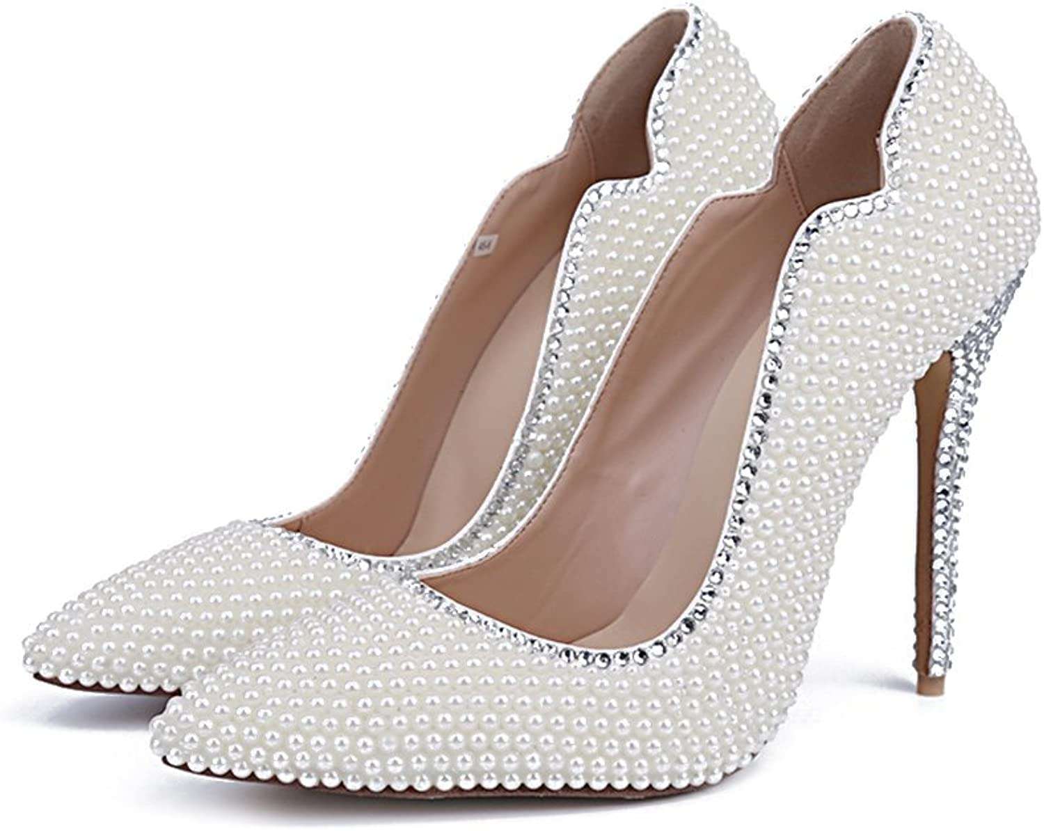 Lacitena Women White Pearl Wedding shoes High Heel Bridal Pump Dress shoes