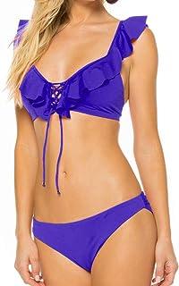 Bikini donna lucido paillettes costume da bagno push up rosa triangolo serale
