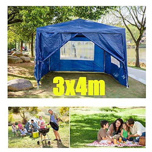 Huini 3x4m Gartenlaube mit 4 Seitenwänden für Party im Freien Hochzeit Camping BBQ Picknick Event Shelter Sonnenschutz Zelt Markise Wasserdicht Einfache Installation - Blau
