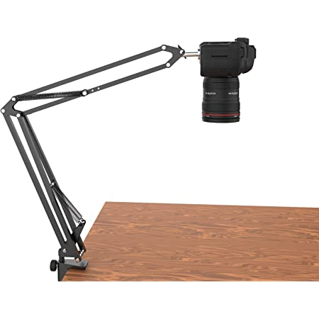 Overhead Tripod for DSLR Cameras, Heavy Duty Camera Desk Mount Stand with Flexible Articulating Boom Arm, Camera Holder Table Clamp for Canon Nikon Sony Fuji SLR Mirrorless Cam Video Photography