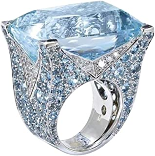 WM & MW Women Rings Fashion Sea Blue Zircon Stone Diamond Rings Cocktail Party Bridal Engagement Band Jewelry Gift