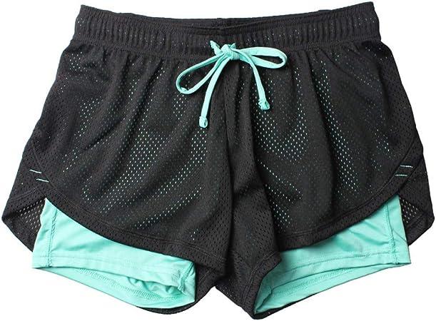 Fansi Pantalones Cortos Deportivos Para Mujer De Doble Capa Poliester Para Yoga Correr Para Verano Color Azul Poliester Azul Medium Amazon Es Hogar