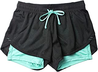 Fansi - Pantalones Cortos Deportivos para Mujer, Doble Capa
