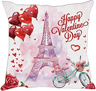 Hexagram Valentines Day Pillows Gifts for Him/Her Paris Eiffel Tower Heart Pillow Covers Cushion Cases Holiday Decorations Pillowcases for Home Couch,18