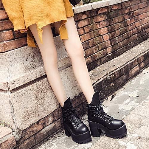 Shukun Bottes Gateau éponge Frais épais avec Fond épais avec des Chaussures de Bottes de Locomotive Punk Martin Femmes