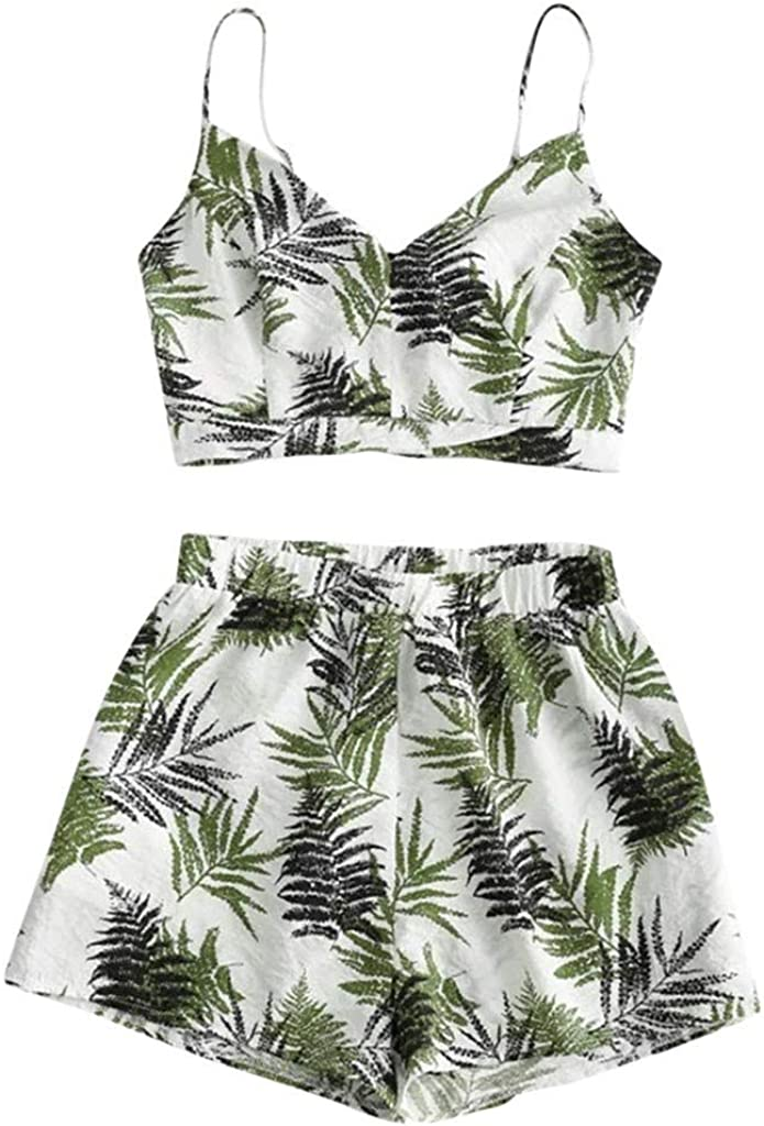 Off The Sleeve Two Piece Floral Outfit for Women Sunflower Printed Tops +Shorts Suit