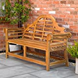 Kingfisher FSWSET13 Ornately Curved Teak Bench Outdoor <span class='highlight'>Garden</span> Furniture, Transparent, One Size