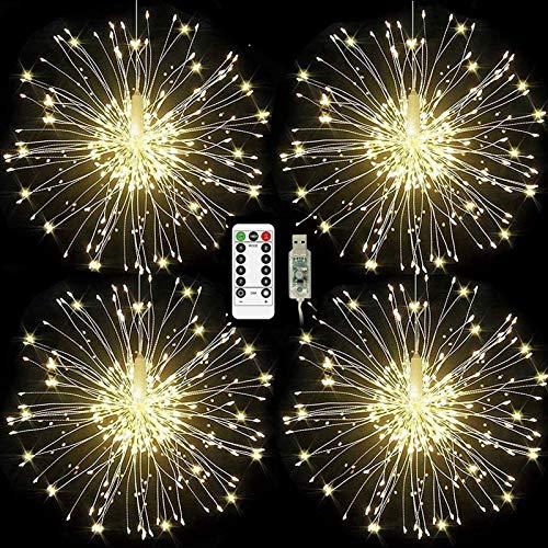 ISUDA Luci Fatate Natalizie LED Luce Fata Luce Stringa USB 5M Catena Luminosa + 3M Cavo Prolunga Decorative Giardino, Casa, Natale, Feste, Matrimonio - 4 Pezzi di 102 LED Lampadine