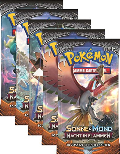 CAGO Sonne und Mond Serie 3 - Nacht in Flammen - Display, Booster - Deutsch (5 Booster)