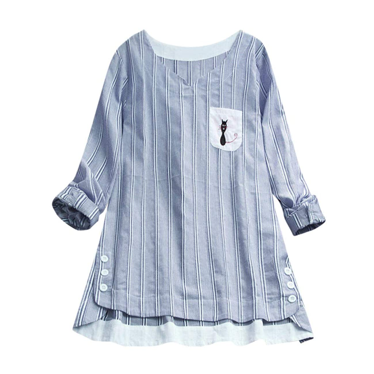 Graphic Tees for Women Miuye Striped Cat Embroidery T-Shirt Long Sleevel Tunic Tops Blouse Dress