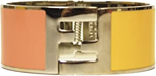 Fendi the Fendista Bangle Palladium Silver Enamel Pink & Yellow Cuff Bracelet