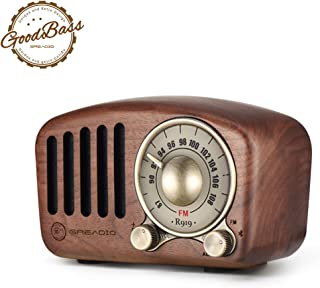 Vintage Radio Retro Bluetooth Speaker- Greadio Walnut Wooden FM Radio with Old Fashioned..