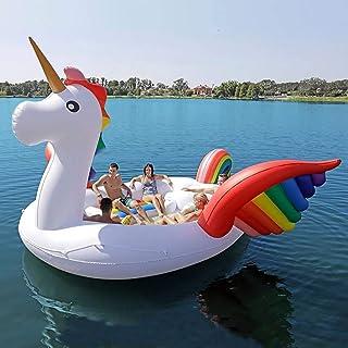 Mnjin Piscina de Ocio Flotador 6 Personas Unicornio Enorme Flotador de Piscina Unicornio Inflable Gigante Piscina Isla Sal...