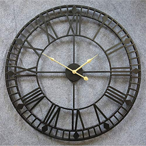 Wanduhr Wall Clocks Wanduhren 80cm große Metall dekorative römische Ziffern 3D-Skelett Silent Black Clock für Küche, Schlafzimmer, Garten, Wohnzimmer, Arbeitszimmer, Büro Office Durchmesser: 34in