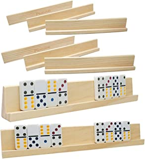 Domino Racks Set of 8, Plusvivo Wooden Domino Trays Holders for Mexican Train Chicken Food and Other Dominoes Games 13.97 ...