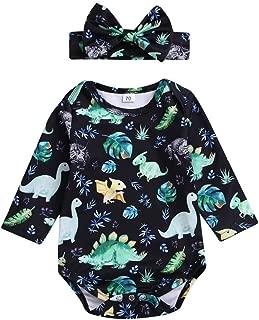 Matoen Toddler Baby Dinosaur Print Romper Jumpsuit+Headbands Set Outfit Suit 2PCS