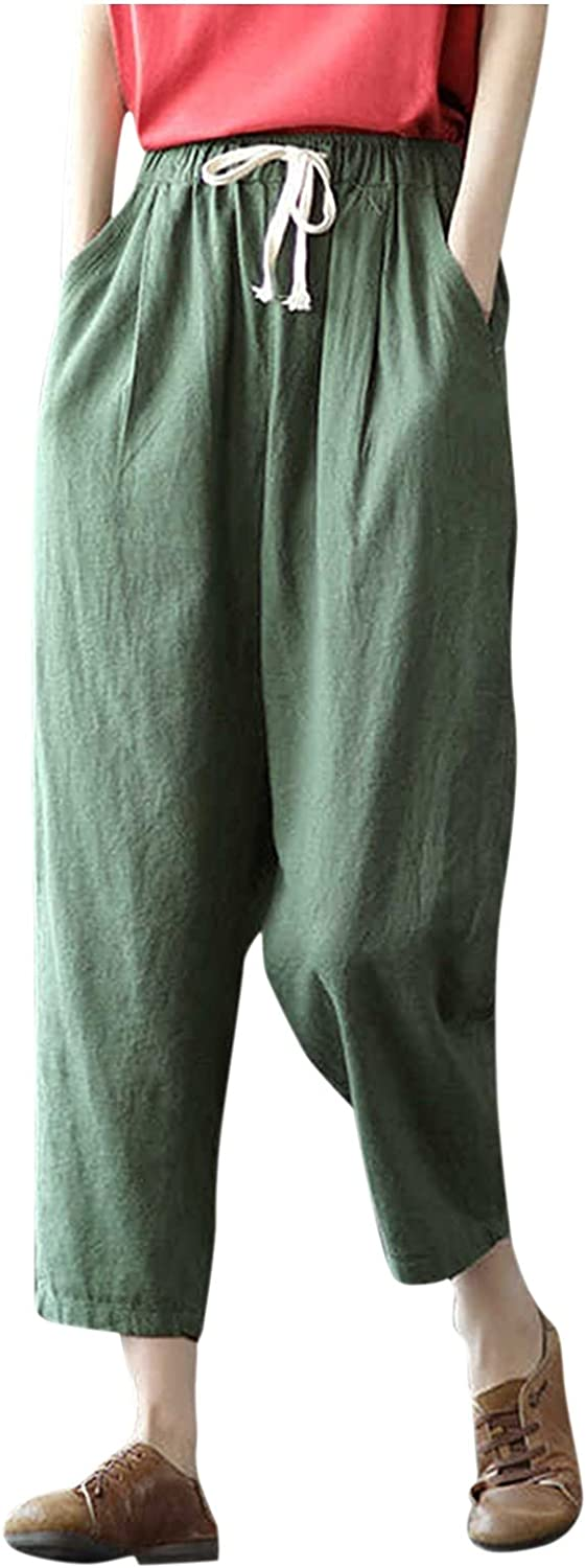 Euone_Clothes Jeans Pant for Women, Womens Solid Cotton and Linen Pocket Elastic Waist Loose Trousers Pants