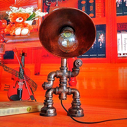 Water Pipe Robot Table lamp,Steampunk Light,Vintage Industrial Retro Style Desk Light, Iron Pipe Robot Desk Table Lamp