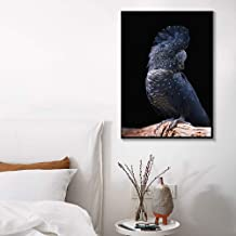 JRTF Wall Art Parrot Canvas Printing Black Cockatoo Wall Art Bird Posters and Prints Canvas Art Pictures for Living Room Decoration-60X80Cm Frameless