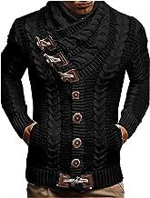 Heren gebreid vest coltrui sjaalkraag pullover met claxon knopen effen gebreide trui moderne mannen trui grof gebreid swea...