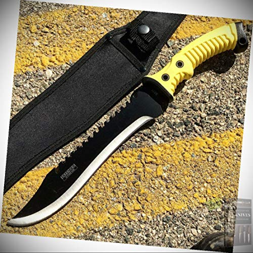 16  Defender Xtreme Full Tang Hunting Stainless Steel Fixed Blade Knife With Black Yellow Rubber Handle