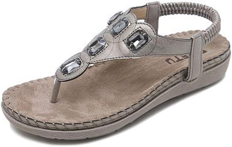 GIY Women's Bohemian Flat Flip Flops Sandals with Rhinestone Comfort Platform Elastic Summer Beach Thong
