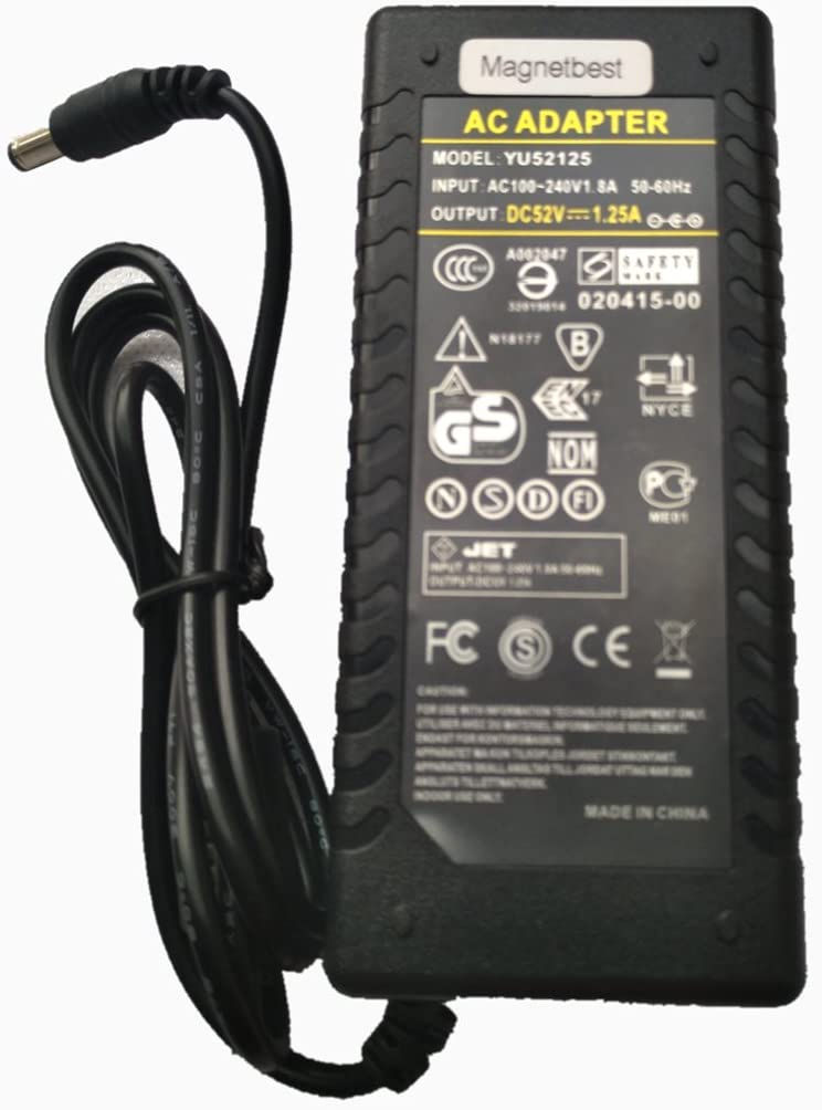 52V 1.25A AC DC Adapter Charger for POE Switch 8/9 Port 65W Power Supply