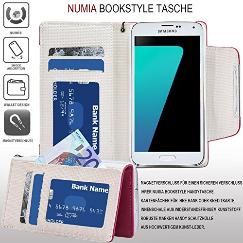 Huawei Ascend Y300 Hülle, numia Handyhülle Handy Schutzhülle [Book-Style Handytasche mit Standfunktion und Kartenfach] Pu Leder Tasche für Huawei Ascend Y300 Case Cover [Pink-Weiss] - 2
