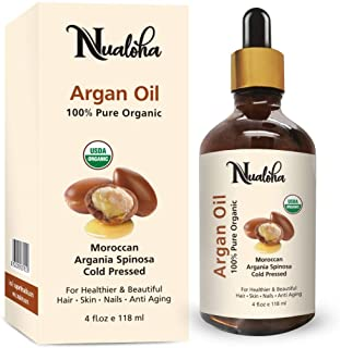 Nualoha Organic Moroccan Argan Oil, 100% Pure Cold Pressed, Certified Organic, All Natural Anti-Aging Moisturizer Treatmen...