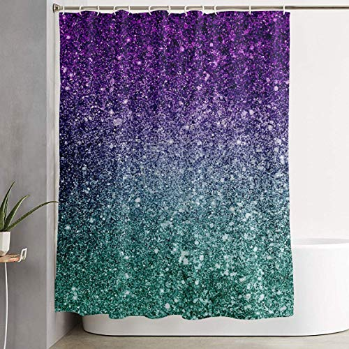 ANTOUZHE DuschvorhangDuschvorhängeBathroom Decoration Shower Curtain Hooks Included Polyester Waterproof Machine Washable Extra Long Hotel Quality Sparkling Mermaid Scales Curtain for Bathroom Show