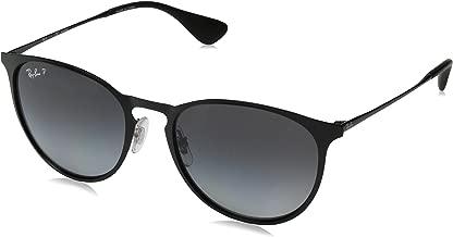 RAY-BAN RB3539 Erika Round Metal Sunglasses, Shiny Black/Polarized Grey Gradient, 54 mm