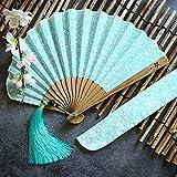 Yifuty Asimétrica flor de cerezo de ventilador for los hombres y las mujeres con bordes biselados, Diseño chino, fácil de llevar, ventilador plegable de color sólido, Usado danza, decoración de la bod