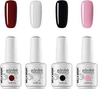 BELLA MODA White Black 4 Colors Set UV Gel Nail Polish Soak Off Gel Polish Manicure Kits