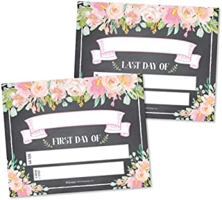 10 Floral First and Last Day of School Signs, Back to School Photo Booth Prop Chalkboard Style, 1st Preschool, Kindergarten, Pre K Grade Sign, Reusable Reversible Girl Kid Child Year 8x10 Card Stock