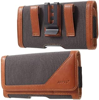 DFV mobile - Case Metal Belt Clip Horizontal Design Textile and Leather for vivo iQOO Neo3 5G (2020)向け - Brown